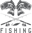 vintage fishing design template with largemouth vector image vector image