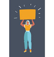 woman with banner above her vector image vector image
