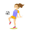 young caucasian white woman playing football vector image vector image