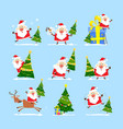 christmas tree and santa claus collection of vector image