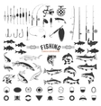 set of Fishing labels design elements Rods and vector image