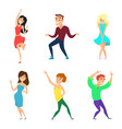 young people dancing active boys and girls in vector image