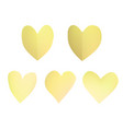 a set of yellow paper hearts vector image vector image