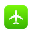 airplane icon digital green vector image vector image