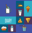 assortment dairy products square composition vector image