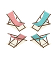 Beach chairs isolated on white background Wooden vector image vector image