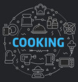 black line flat circle cooking vector image
