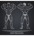 Bodybuilder in two positions on a dark background vector image