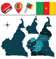 Cameroon map with named divisions vector image vector image