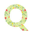 capital letter q green floral alphabet element vector image