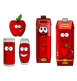Cartoon apple with apple juice in containers vector image vector image