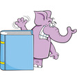 Cartoon elephant standing behind a book vector image vector image