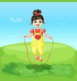 cartoon happy joyful cheerful smiling girl vector image vector image