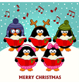 Christmas choir penguins vector image