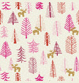 christmas holiday seamless pattern reindeer trees vector image vector image