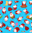 christmas seamless pattern with santa in different vector image vector image