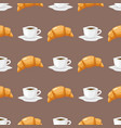 coffee and croissant seamless pattern brown vector image vector image