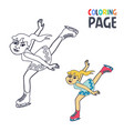 coloring page with woman ice skiing player cartoon vector image vector image