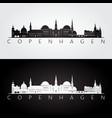 copenhagen skyline and landmarks silhouette vector image vector image