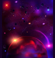 cosmic background with asteroids meteorites vector image vector image