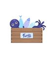 Crate With Fish And Seafood vector image vector image
