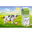 Cute cow and milk pack vector image vector image