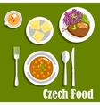 Czech cuisine dishes and dessert cake vector image vector image