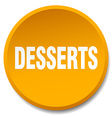 desserts orange round flat isolated push button vector image vector image