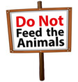 Do not feed animal sign on white background
