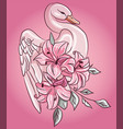 fabulous pink swan with floral rose lily flowers vector image vector image