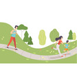 family running in park mother father and their vector image vector image