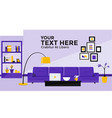 flat design banner of living room vector image