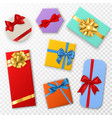 gift box with bows top view gift vector image vector image