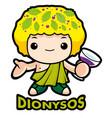 god sake dionysus character olympus god isolated vector image