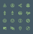 Green outline various social network actions icons