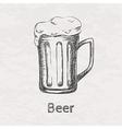 hand drawn sketch beer mug vector image