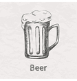 hand drawn sketch of beer mug vector image vector image
