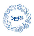 hand drawn sports tools circle concept vector image vector image