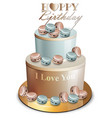 happy birthday cake realistic blue and vector image vector image