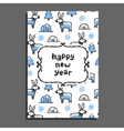 Happy new year card with cute cartoon reindeer vector image vector image