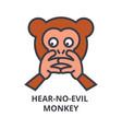 hear no evil emoji line icon sign vector image vector image