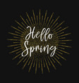hello spring gold glitter background vector image