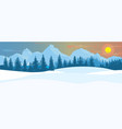 horizontal winter landscape mountains fir tree vector image