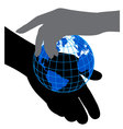 icon silhouettes of hands and the planet vector image vector image