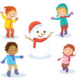 kids happy at winter season cute kids are look vector image