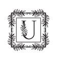 letter u alphabet with vintage style frame