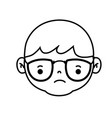line avatar boy head with hairstyle design vector image