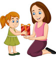 little girl giving a gift box to her mother vector image