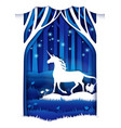 magic unicorn in paper art vector image vector image