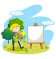 Man painting picture on canvas vector image vector image